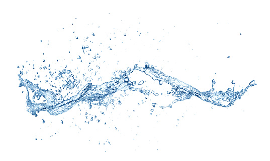 Water splash with drops isolated on white background