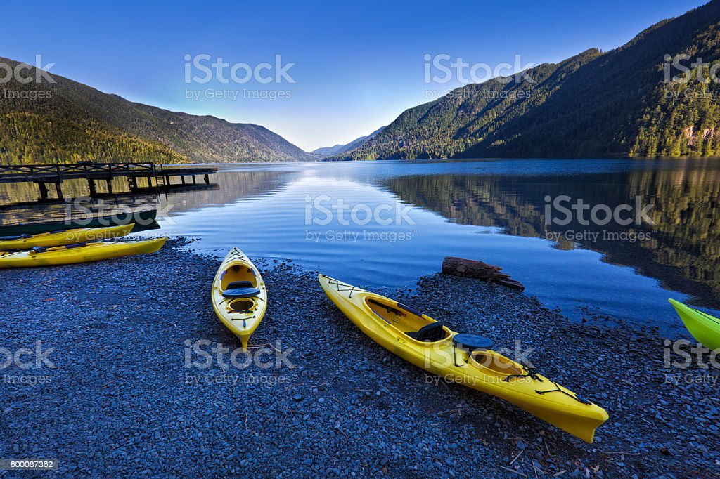 Water Sport Kayak at Lake Crescent Olympic National Park stock photo