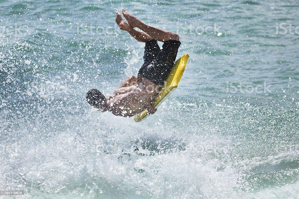 Water Sport of Bodyboarding in Kauai, Hawaii royalty-free stock photo