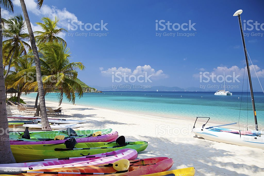 water sport toys at Deadman's Beach on Peter Island, BVI stock photo
