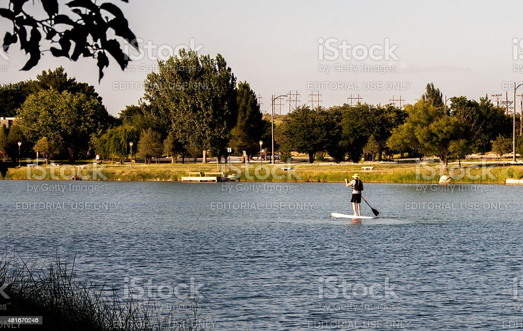 Water Sports at Lake Carlsbad Recreation Area in New Mexico stock photo