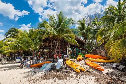 Water sports equipment in the Palancar beach in Playa Palancar, Quintana Roo, Mexico