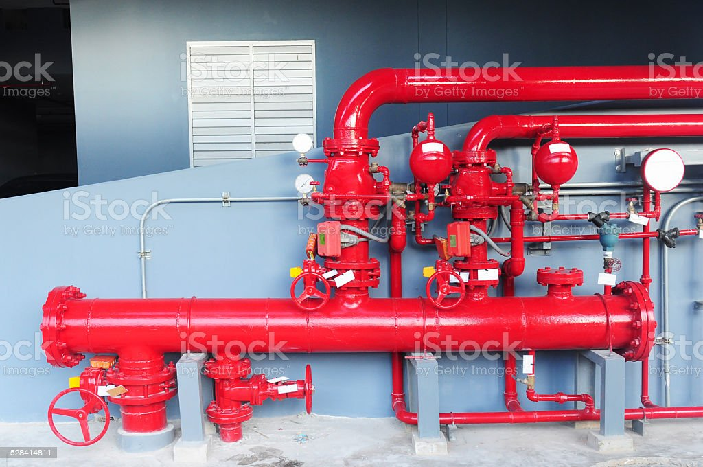 Water sprinkler and fire alarm system, stock photo
