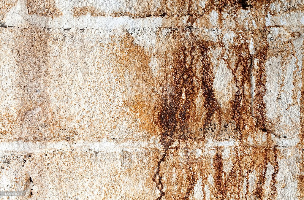 Water Stained White Cinder Block Wall stock photo