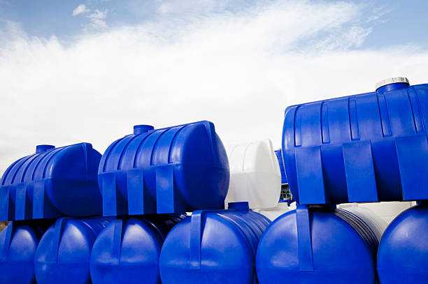 Water storage tanks Blue water storage tanks volume fluid capacity stock pictures, royalty-free photos & images