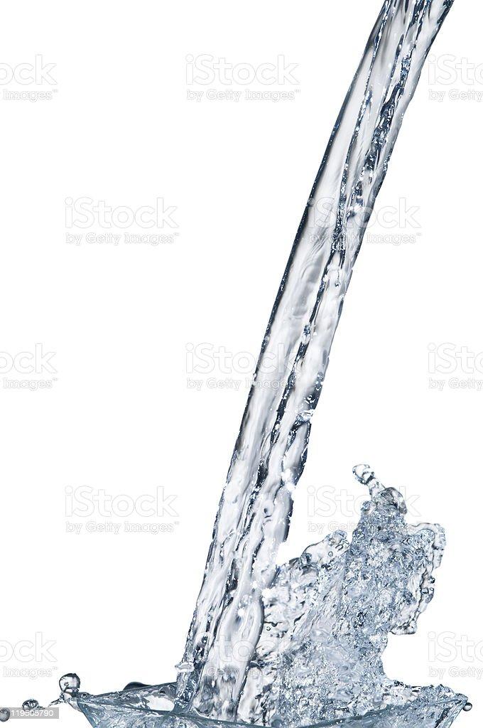 Water stream and splash on white background royalty-free stock photo