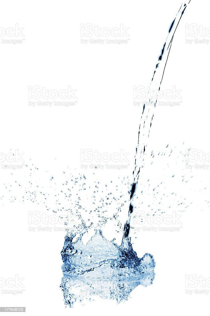 Water stream making a splash when reaching surface royalty-free stock photo