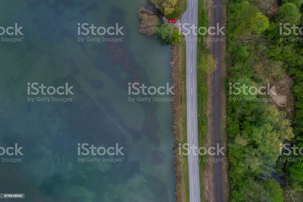 Water, street and a railway stock photo