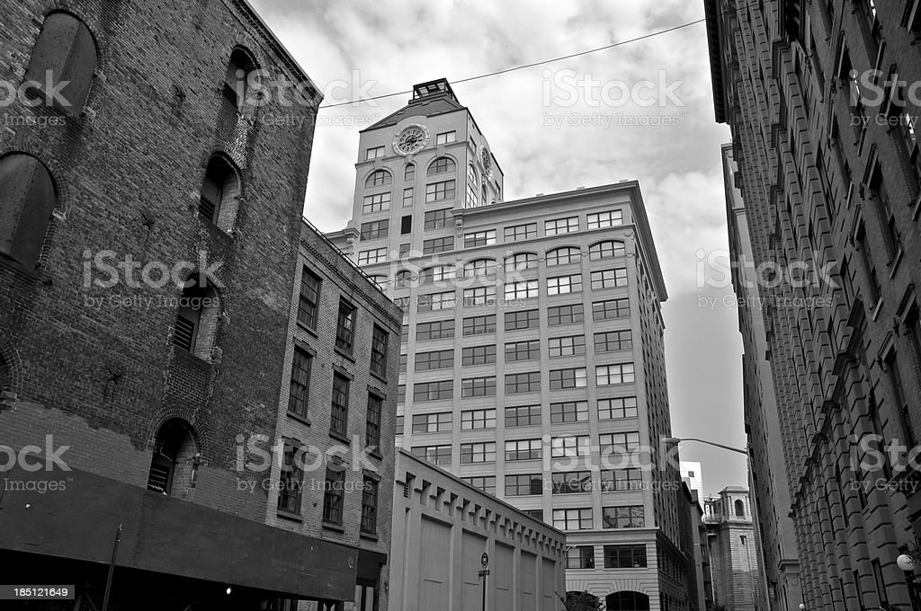 Water Street cityscape scene in DUMBO, Brooklyn, New York City stock photo