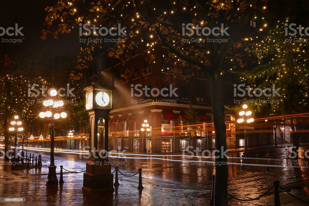 Water Street Night, Gastown, Vancouver stock photo