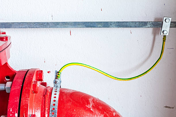 Water supply, fire fighting system control, painted pipeline stock photo