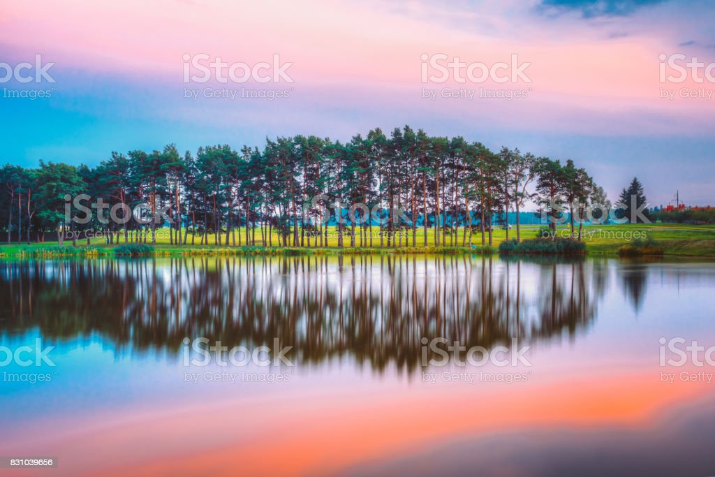 Water Surface Of Lake Pond River At Summer Sunny Evening. Nature Of Belarus And European Part Of Russia stock photo