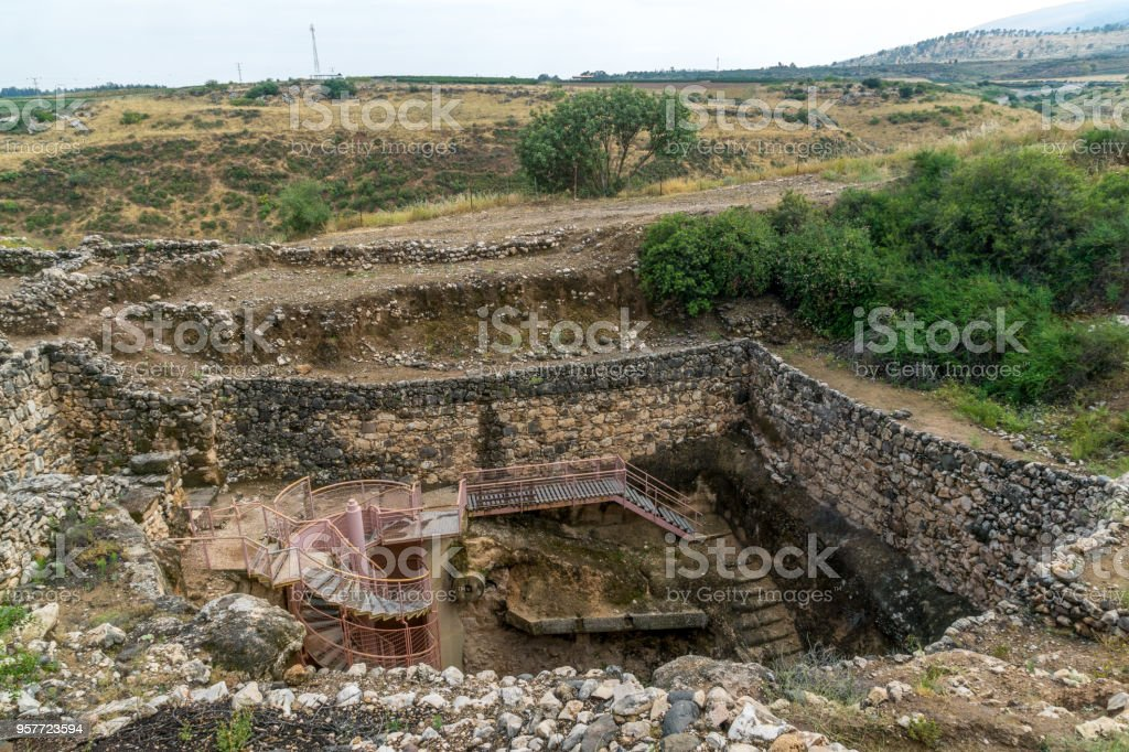 Water System remains, in Tel Hazor National Park stock photo