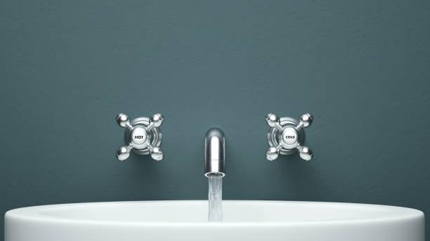 vista frontal de guia com a cópia de renderização 3d espaço da água - banheiro instalação doméstica - fotografias e filmes do acervo