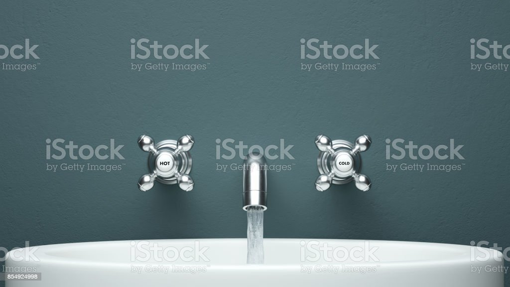 Water tab frontal view with copy space 3d rendering stock photo