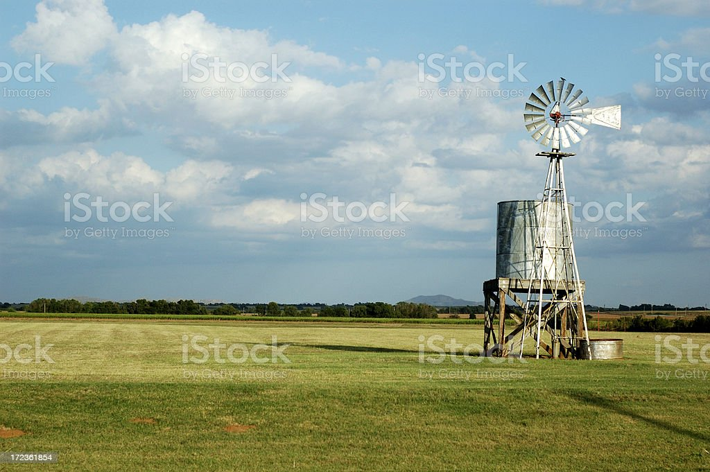 Water Tank and Windmill Color royalty-free stock photo