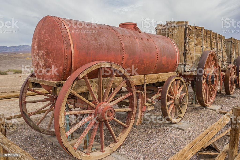 Water tank car at Harmony Borax in Death Valley stock photo