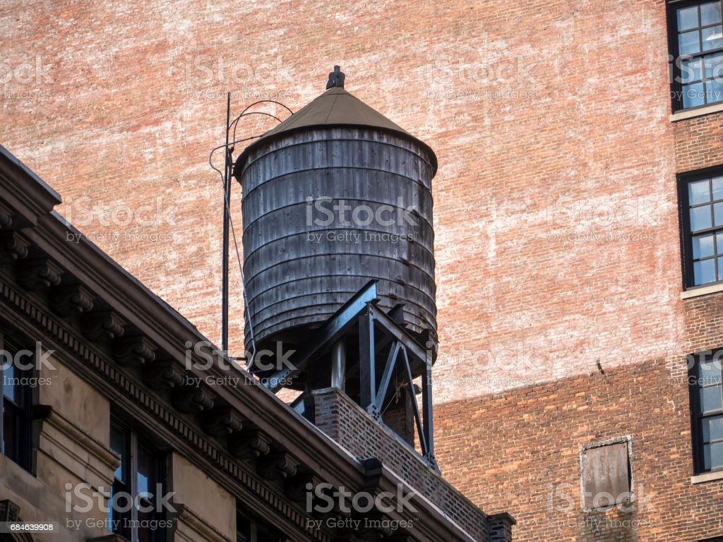 Water Tank on New York Rooftop stock photo