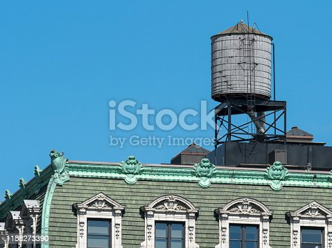 Water tank on rooftop of a building in New York City
