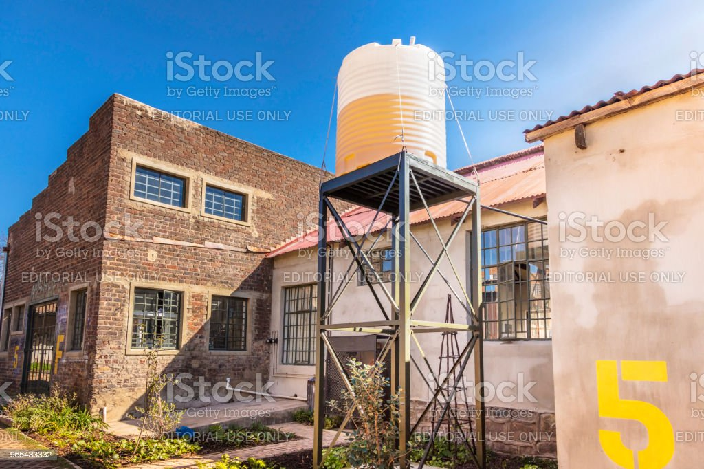 Water tank restored at Victoria Yards, Johannesburg royalty-free stock photo