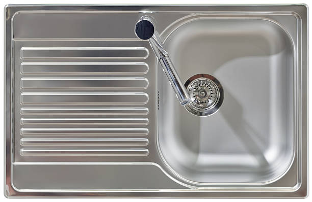 water tap and sink cutout - kitchen sink stock photos and pictures