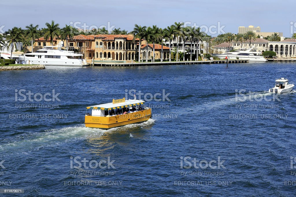 Water Taxi and Boats on the Intracoastal stock photo