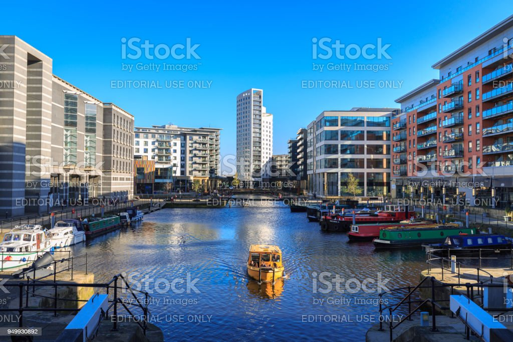 Water Taxi in Leeds Dock stock photo