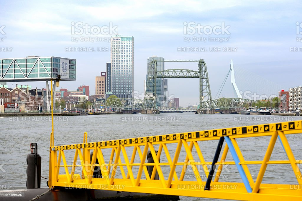 Water taxi jetty in Rotterdam stock photo