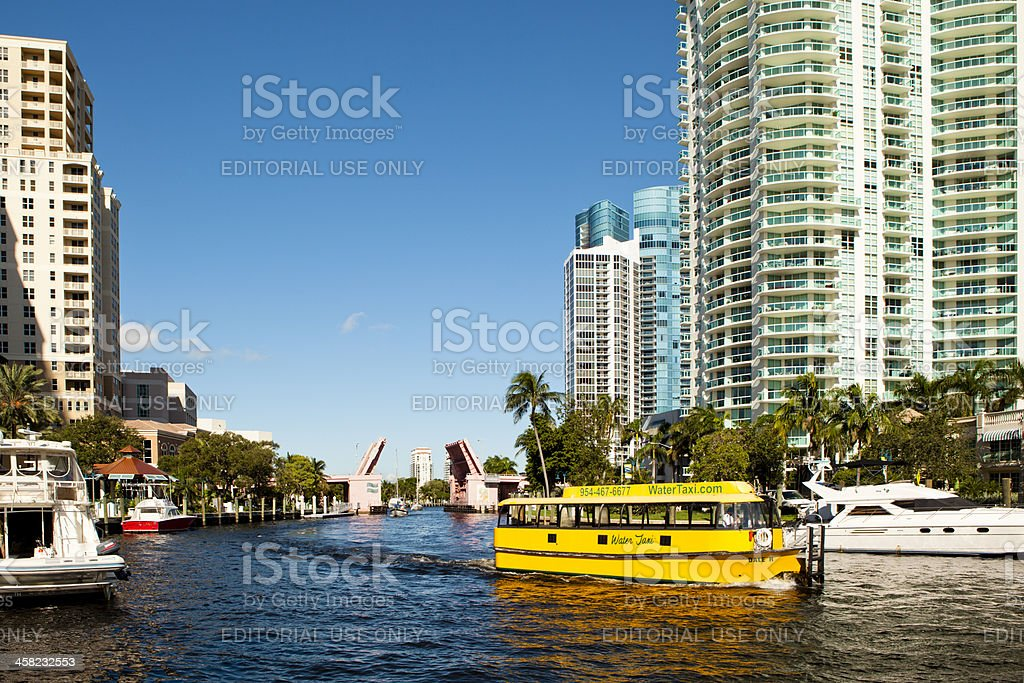 Water Taxi on the New River in Fort Lauderdale stock photo