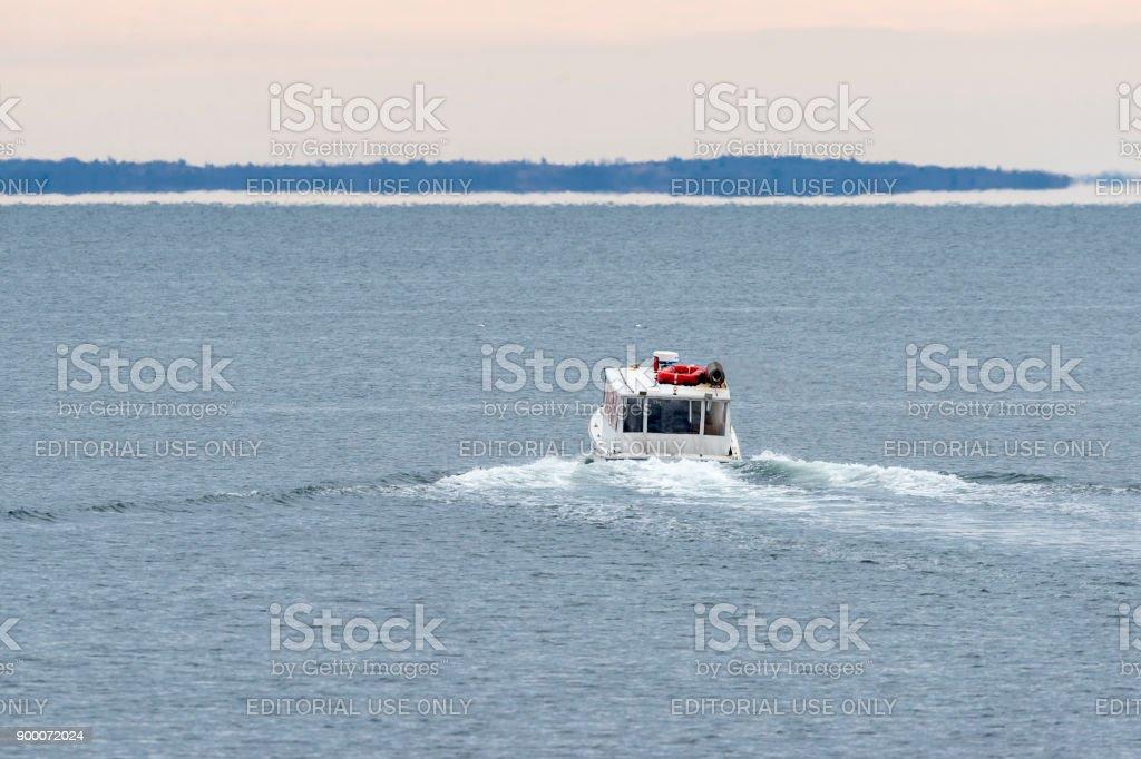 Water taxi Seahorse heading into Buzzards Bay stock photo