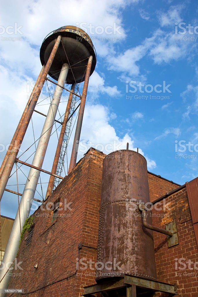 Water Tower and Iron Boiler in Downtown Detroit stock photo