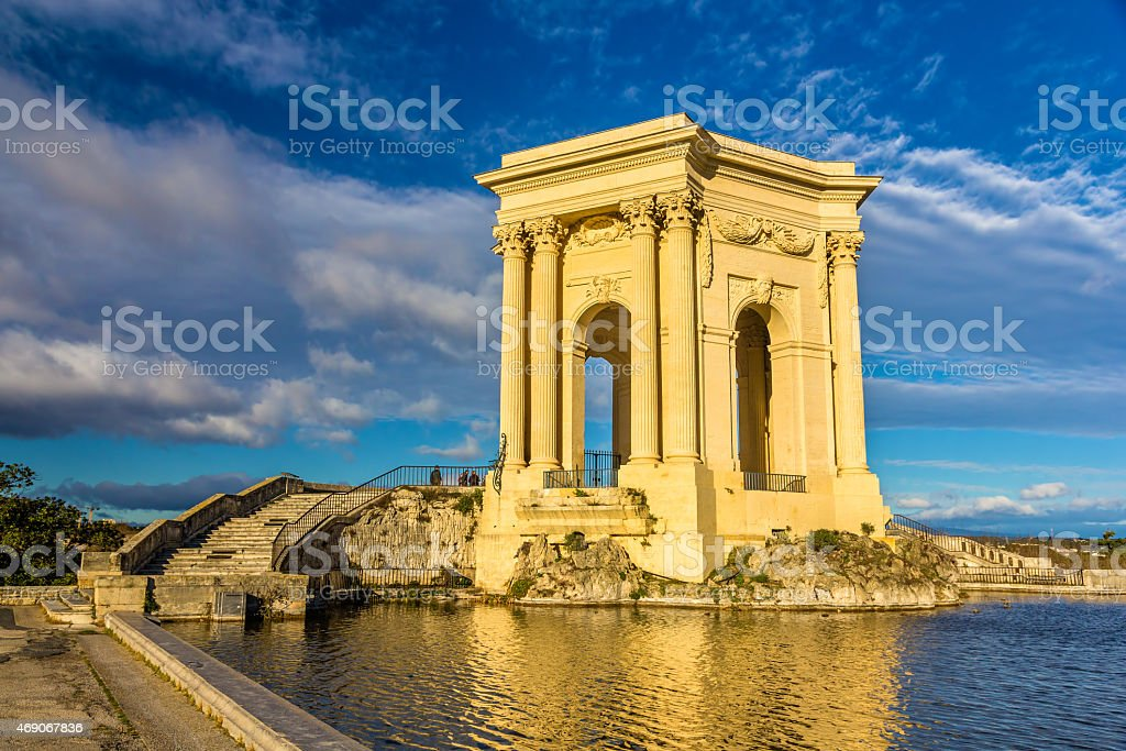 Water tower at the end of aqueduct in Montpellier, France stock photo