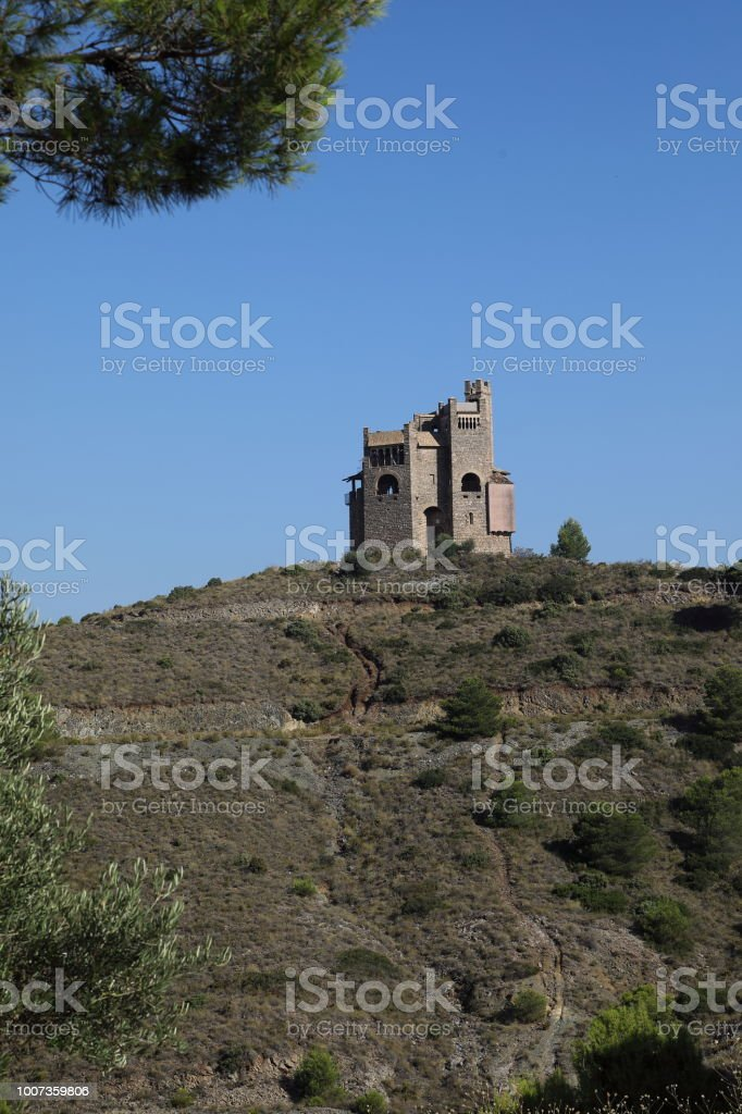 Water tower at the La Mota by Alhaurin El Grande, Andalucia in Spain stock photo