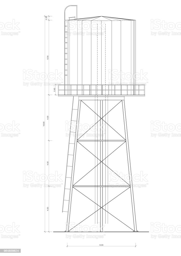 Water Tower blueprint - isolated royalty-free stock photo