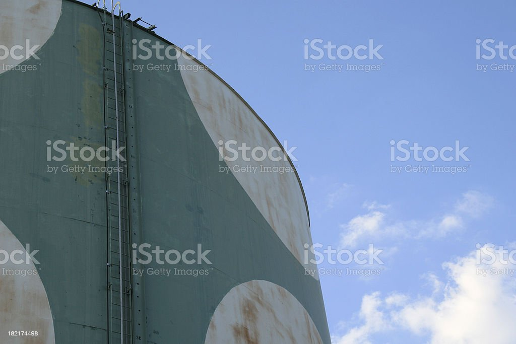 water tower detail in summer sky stock photo