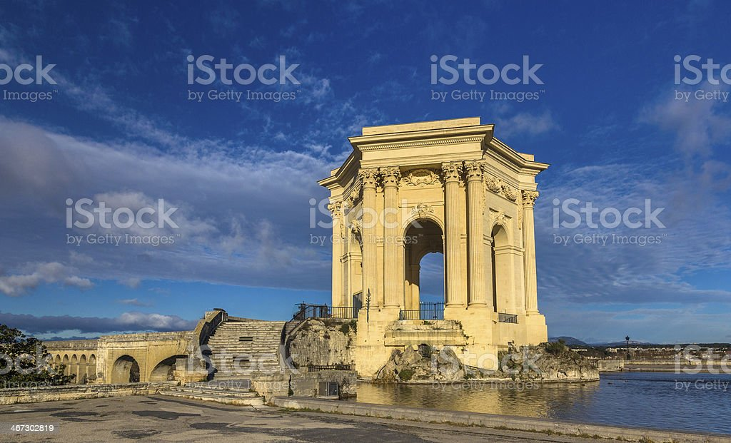 Water tower in the end of aqueduct - Montpellier, France stock photo