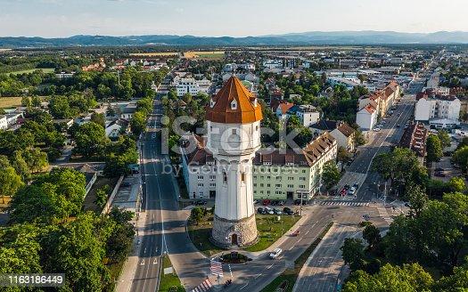 Aerial view of Wasserturm in Wiener Neustadt