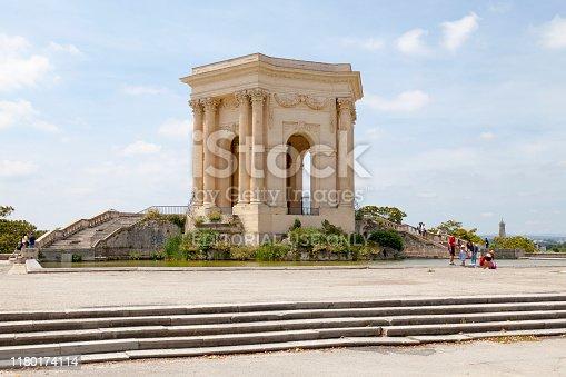 Montpellier, France - June 09 2018: The water tower (French: Château d'eau), emblematic monument of the Promenade du Peyrou.