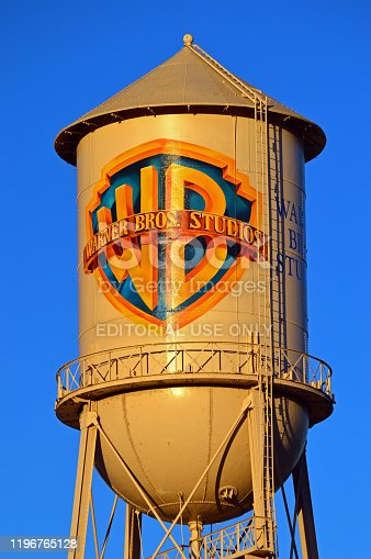 Burbank, CA, USA July 23, 2014 A water tower rises on the Warner Brothers movie studio lot in Burbank, California, displaying the studio's vintage emblem
