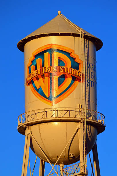 A water tower on the Warner Brothers movie studio lot stock photo