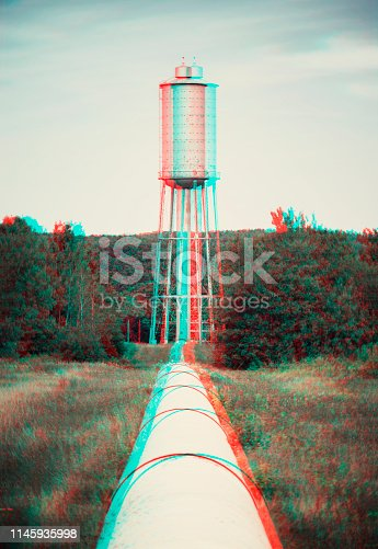 Water storage tower and pipeline.