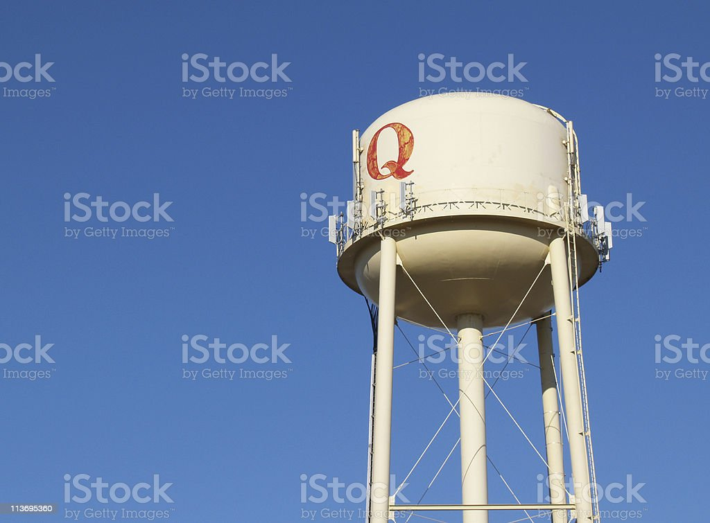 Water Tower With Q in an Azure Sky stock photo