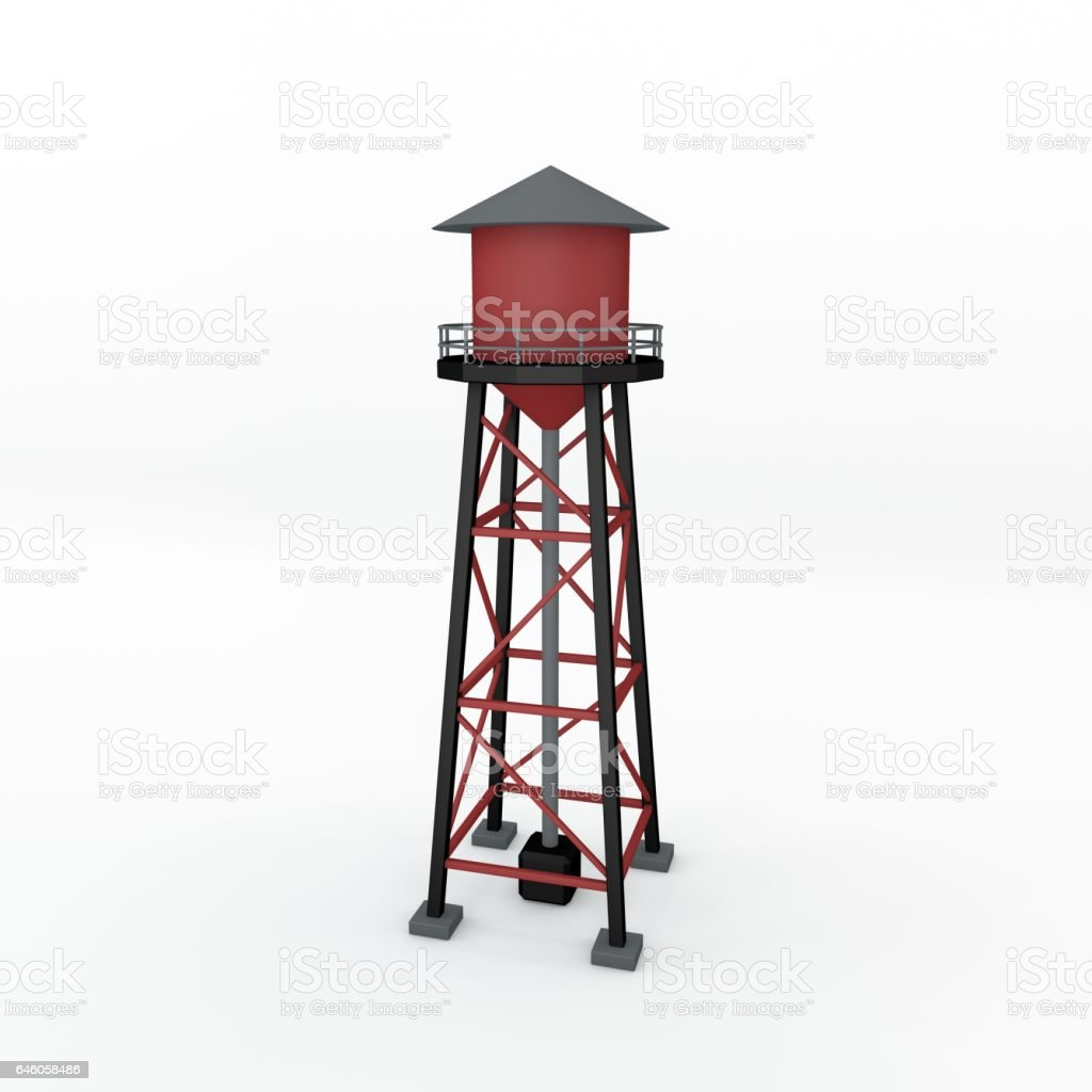 Water tower.Isolated on white background. 3D rendering illustration. vector art illustration