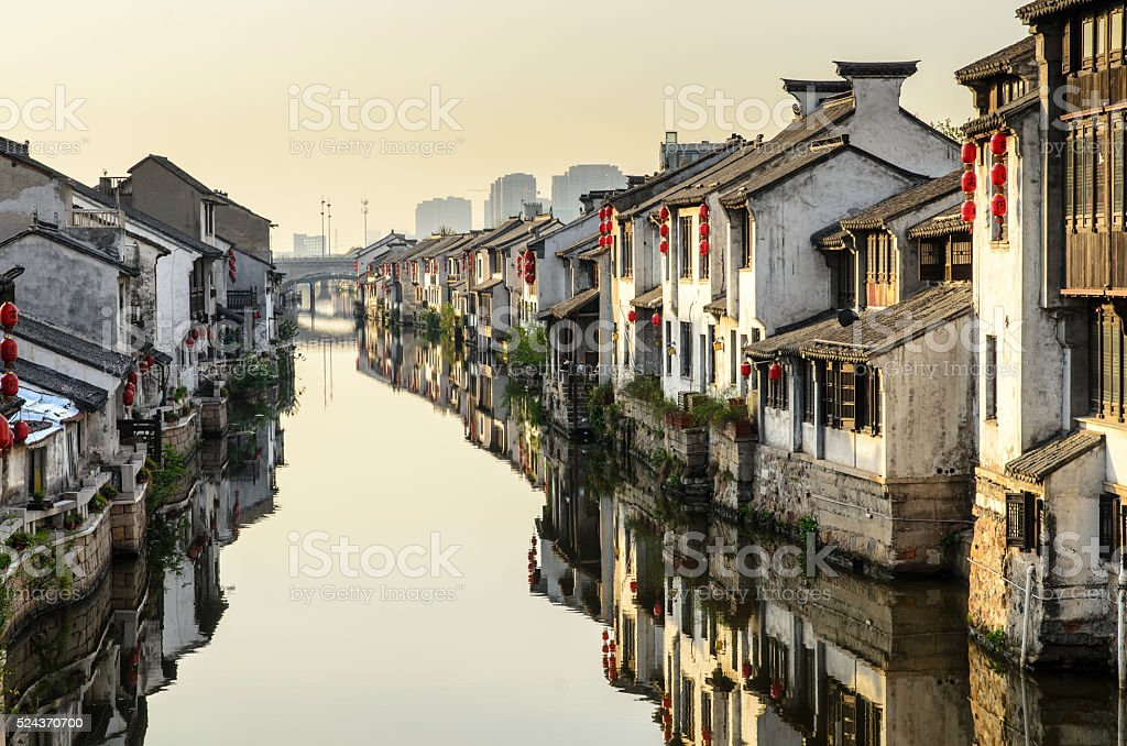 Water town in sunrise, Jiangsu Province, China stock photo