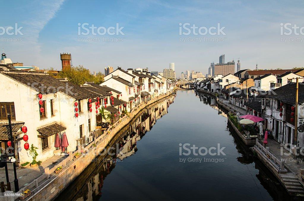 Water town in sunrise, Jiangsu Province, China stock photo