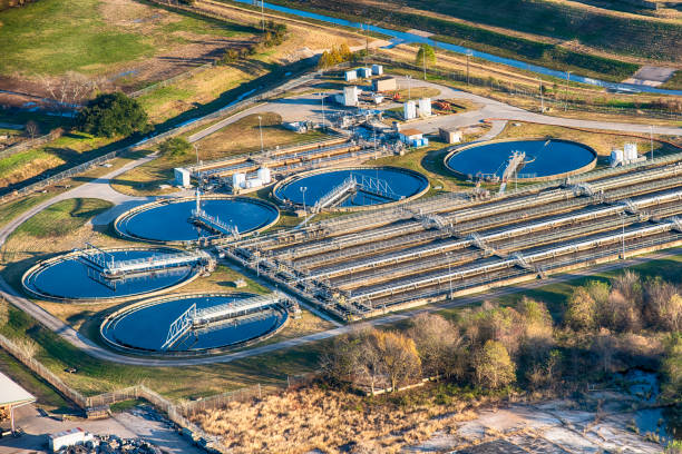Water Treatment Facility Aerial view of a water treatment facility in the South Texas area just south of Houston. sewage treatment plant stock pictures, royalty-free photos & images