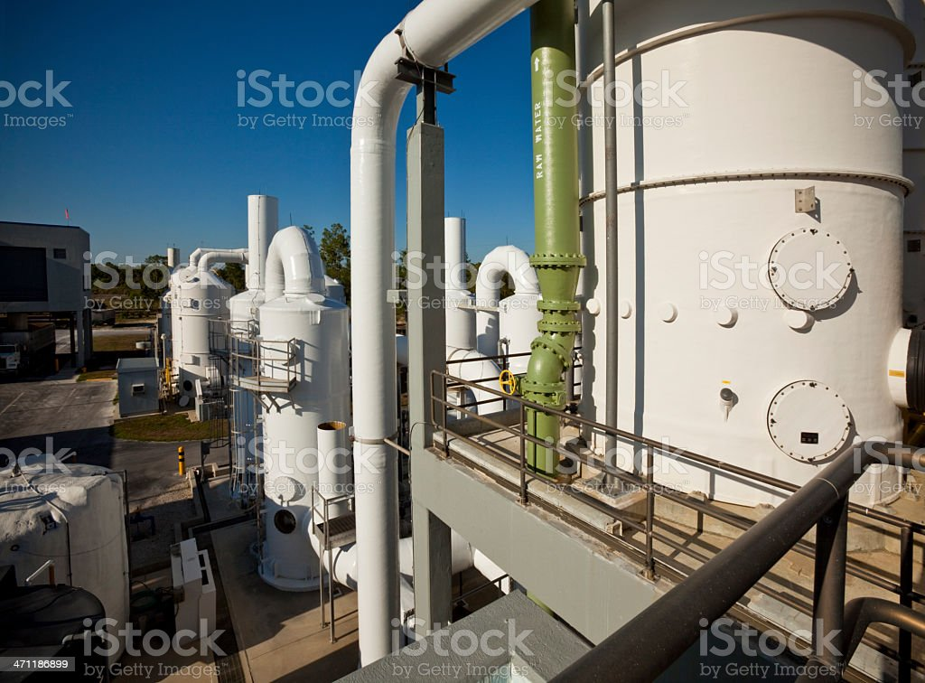 Water Treatment Plant at Dusk royalty-free stock photo