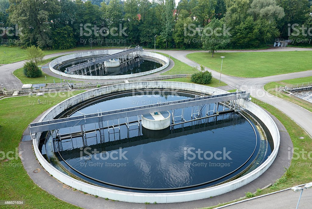 Water Treatment Plant Tank concept for water conservation recycling stock photo