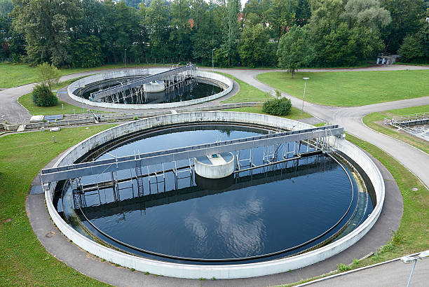 Water Treatment Plant Tank concept for water conservation recycling Clarifier tank a sewage treatment plant sewage treatment plant stock pictures, royalty-free photos & images