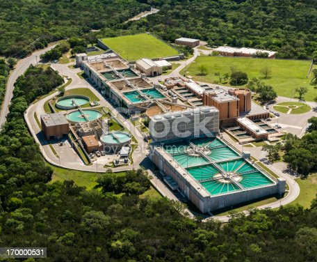 aerial view of sewage treatment water reclamation plant